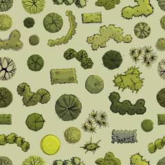 Seamless pattern with symbols of trees and shrubs  in plan view whithout shadow. Hand drawn ink and colored sketch  on green  background.