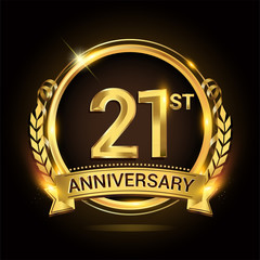 21st golden anniversary logo, 21 years anniversary celebration with ring and ribbon, Golden anniversary laurel wreath design.