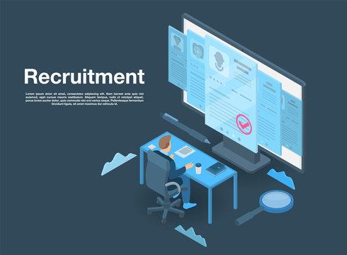 Recruitment concept banner. Isometric illustration of recruitment vector concept banner for web design