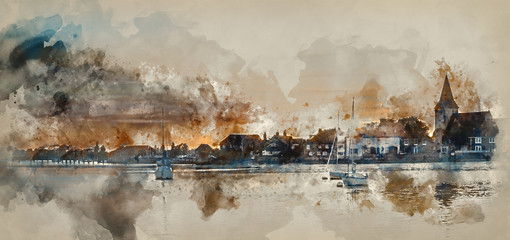 Watercolor painting of Beautiful Summer sunset landscape over low tide harbor with moored boats