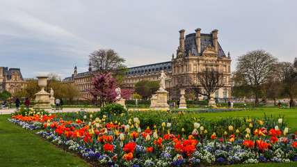 Türaufkleber Paris Marvelous spring Tuileries garden and view at the Louvre Palace Paris France. April 2019.