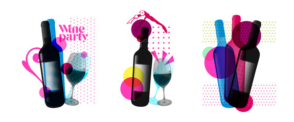 Fototapeta Idea for wine event. Illustration of bottle and wine glass with dotted pattern, retro 80s style, bright colors, pop art. For brochures, posters, invitations or banners. obraz