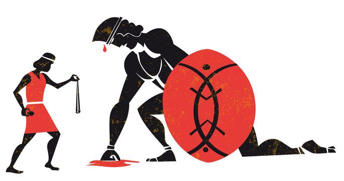 David and Goliath vector illustration