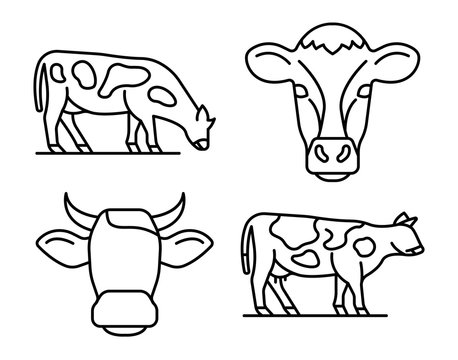 Cow icons set. Outline set of cow vector icons for web design isolated on white background