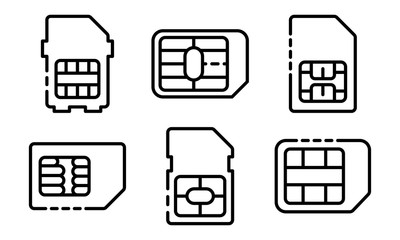 Sim phone card icons set. Outline set of sim phone card vector icons for web design isolated on white background