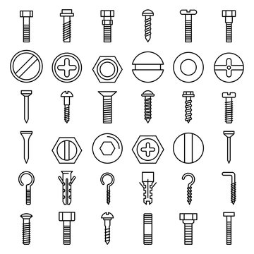 Screw-bolt icons set. Outline set of screw-bolt vector icons for web design isolated on white background