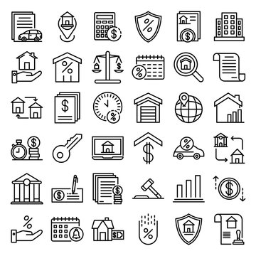 Mortgage icons set. Outline set of mortgage vector icons for web design isolated on white background