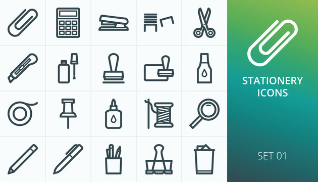 Office Supplies icons, Office stationery icons set. Set of school clip, stapler, cutter knife, staples, stamp ink pad, binder clip, pen, scissors vector icons
