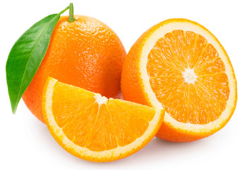 Fototapete - Fresh orange on white background