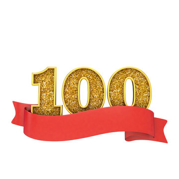 Number 100 gold glitter celebration with a red scroll banner. 3D Render