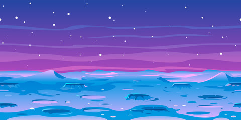 Cartoon Moon landscape with craters on space with stars, game background tileable horizontally, fantastic planet blue surface illustration