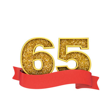 Number 65 gold glitter celebration with a red scroll banner. 3D Render