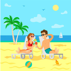 Relaxation on tropical islands vector, couple drinking cocktails. Man and woman spending time on summer vacation, people couple relaxing together
