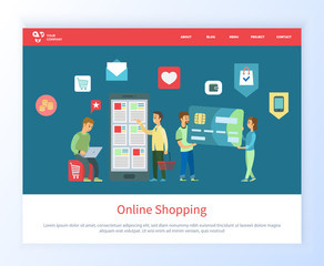 Online shopping people with smartphone vector, man and woman with big credit card, male with cart and laptop looking for purchases to make . Website or webpage template, landing page flat style