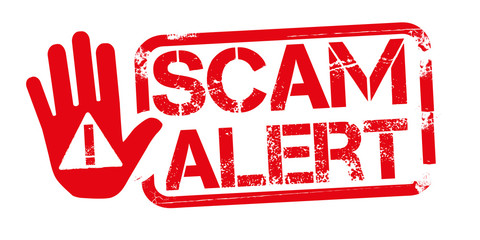SCAM ALERT red Rubber Stamp over a white background