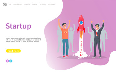 Spaceship launching, new business project vector. Successful start of ideas realization, achievement of success, businessman happy of results. Website or webpage template, landing page flat style