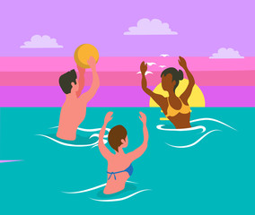Man tossing big colorful ball, women catching it, water sport activity. Portrait and back view of friends wearing swimsuit, splashing in sea vector volleyball
