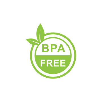 Green simple bpa free logo. Concept of emblem for packaging products or healthy emblem template. - Vector