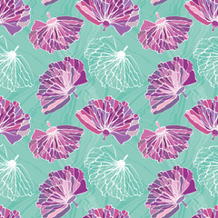 Purple hand drawn flowers with featured unfinished white bloom. Seamless vector pattern on marbled turquoise background. Great for wellness, beauty, wedding products, giftwrap, stationery, packaging