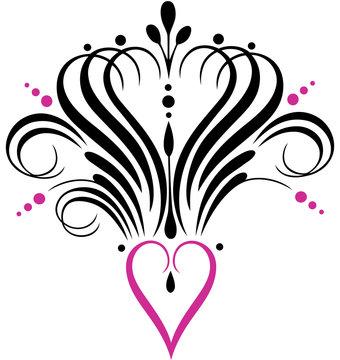 Kalligrafie Herz Krone Tattoo Party Love. Filigranes Herz mit Krone, Schnörkeln und Ornamenten. Tolles Geschenk für Tattoo Fans, Girlie, Princess, zum Geburtstag, Party, Clubbing und Festivals.