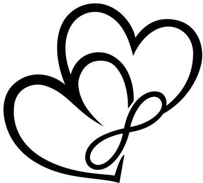 Zwei Herzen mit Unendlichkeitssymbol. Ein Zeichen der ewigen unendlichen Liebe. Sehr romantisch. Geschenkidee zum Valentinstag, Muttertag, Vatertag, für Freunde, Verliebte und Familie.