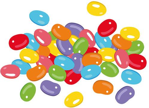 Ostern Jelly Beans Bonbons Süßigkeiten Osterfest. Süße Jelly Beans zu Ostern, zum Geburtstag, Party, Weihnachten und zu jedem anderen Fest. Bonbons und Süßigkeiten.