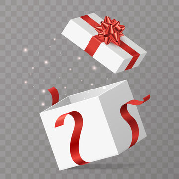 Opened gift box vector illustration. White surprise box with red bow and lighting particles. Isolated on transparent background. Element for your celebration design. Eps 10.