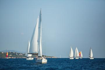 Fototapete - Sailing yacht Regatta at the Aegean Sea. Sailboats.