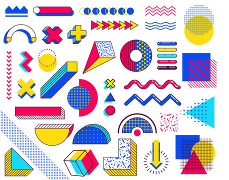 Set of memphis design elements. Abstract 90s trends elements with multicolored simple geometric shapes. Shapes with triangles, circles, lines