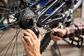 Cropped shot of male mechanic working in bicycle repair shop, bicyclist repairing bike using special tool