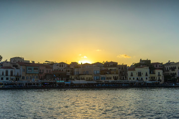 Wall Murals Place of worship Greece, Chania, August 2018: illuminated venetian habour of Chania, Crete, Greece