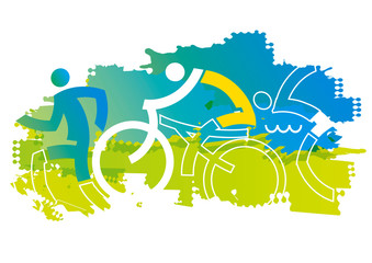 Triathlon Racers, expressive stylized. Expressive dynamic drawing Three triathlon athletes on the blue grunge background. Vector available.