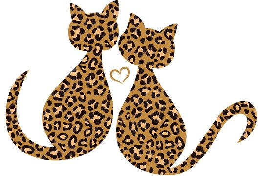 Leo Kätzchen Leopard Katzen Verliebt In Love. Süße verliebte Leo Kätzchen mit Herz. Zwei Katzen im Leoparden Style. Tolle Geschenkidee zu Ostern, Weihnachten, Geburtstag, Muttertag und Valentinstag.