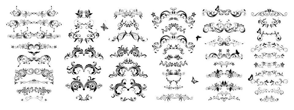 Vintage book floral separators and titles set. Baroque black and white design elements
