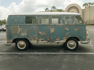 Side View of a Classic Old Rusty Camper Van