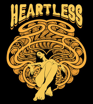 Heartless. Vector hand drawn illustration of pretty woman with abstract ornament and handwritten lettering .