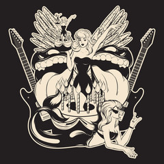 Vector hand drawn illustration of pretty girl in cake with mouths, guitars, wings and mermaid .