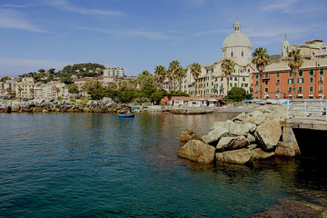 Pegli, small sea town and suburb of Genoa on the Ligurian sea, Italy - Panoramic view from the sea