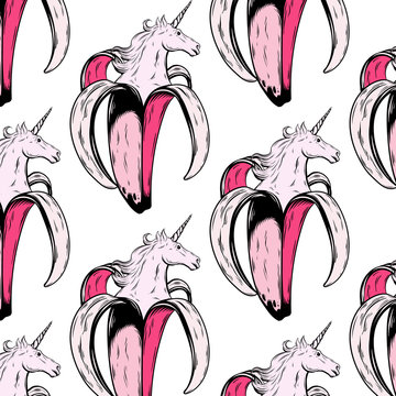 Vector pattern with hand drawn illustration of banana with unicorn's head isolated.