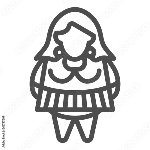 Fat girl line icon  Body positive vector illustration