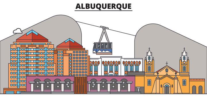 Albuquerque,United States, flat landmarks vector illustration. Albuquerque line city with famous travel sights, design skyline.