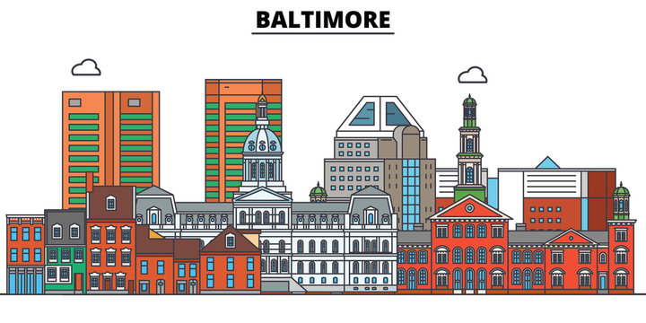 Baltimore,United States, flat landmarks vector illustration. Baltimore line city with famous travel sights, design skyline.