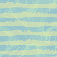 Pastel blue and green watercolour horizontal striped design. Seamless vector pattern on blue marbled swirls background. Great for wellness, spa, beauty products, giftwrap, stationery, packaging.