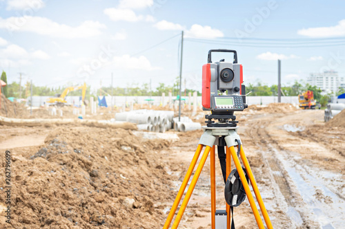 Surveyor equipment GPS system or theodolite outdoors at construction