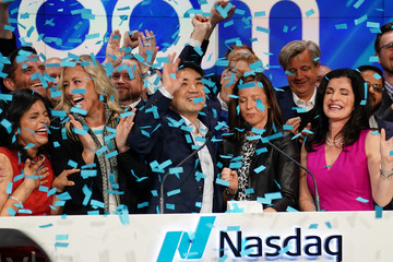 Eric Yuan, CEO of Zoom Vido Communications takes part in a bell ringing ceremony at the NASDAQ MarketSite in New York