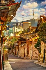Bukchon Hanok Village with Seoul tower in Seoul, South Korea
