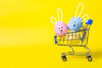 colorful easter eggs on yellow  background