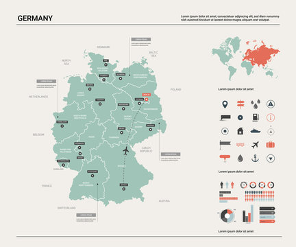 Vector map of Germany.  High detailed country map with division, cities and capital Berlin. Political map,  world map, infographic elements.