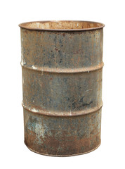 Rusty oil barrel (with clipping path) isolated on white background
