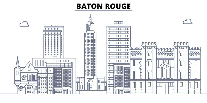 Baton Rouge,United States, flat landmarks vector illustration. Baton Rouge line city with famous travel sights, design skyline.